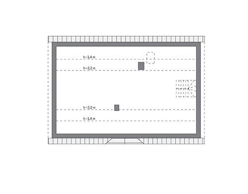Rzut poddasza: do indywidualnej adaptacji (73,5 m2 powierzchni użytkowej)