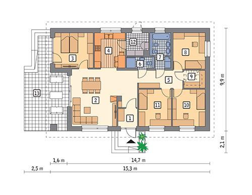 Rzut parteru POW. 110,3 m²