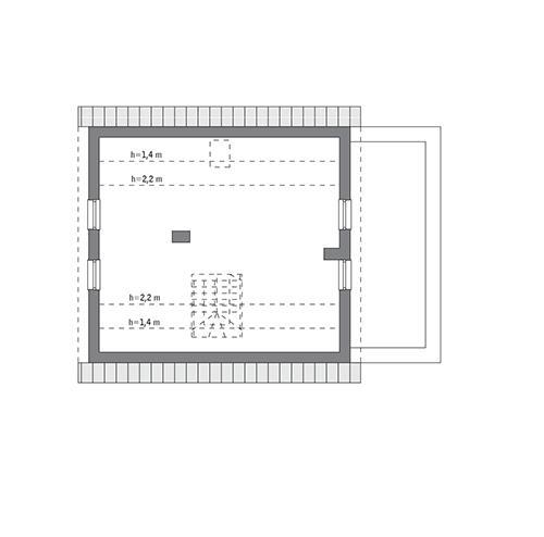 Rzut poddasza: do indywidualnej adaptacji (54,8 m2 powierzchni użytkowej)