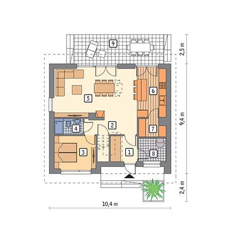 Rzut parteru POW. 70,9 m²