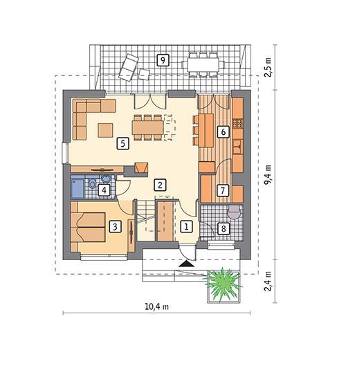 Rzut parteru POW. 71,0 m²