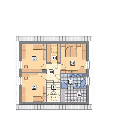 Rzut poddasza POW. 74,9 m²