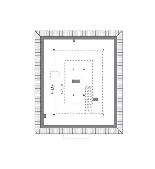 Rzut poddasza: do indywidualnej adaptacji (41,3 m2 powierzchni użytkowej)