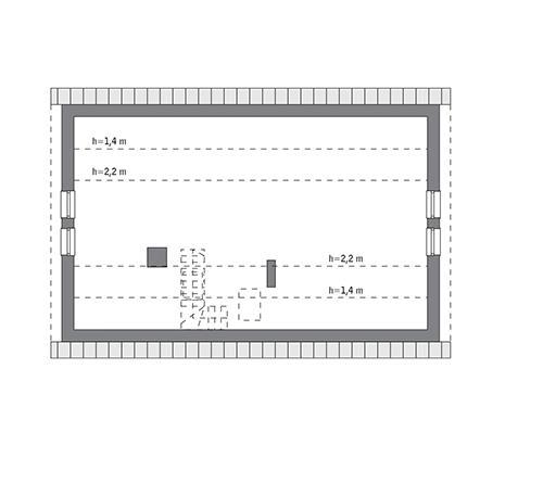 Rzut poddasza: do indywidualnej adaptacji (54,3 m2 powierzchni użytkowej)
