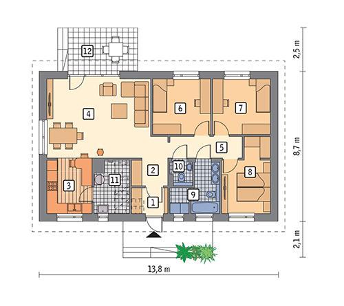 Rzut parteru:   POW. 91,8 m²