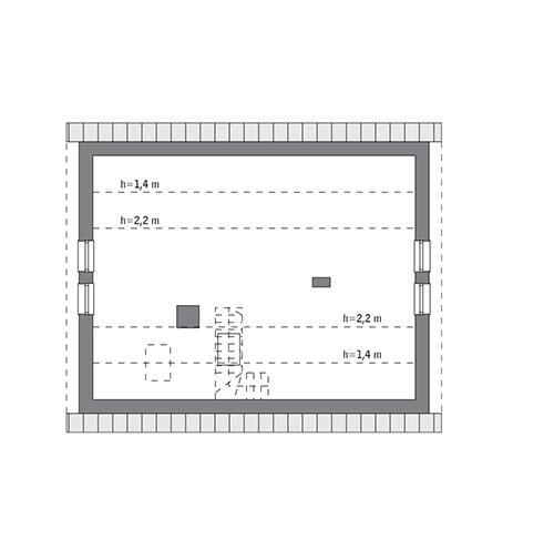 Rzut poddasza: do indywidualnej adaptacji (43,3 m2 powierzchni użytkowej)