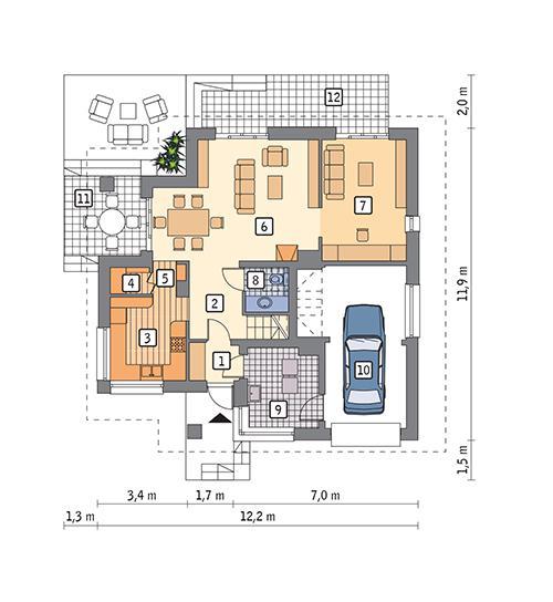 Rzut parteru POW. 90,9 m²