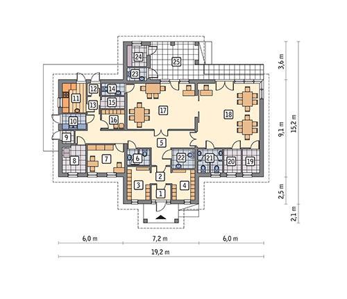 Rzut parteru POW. 156,9 m²