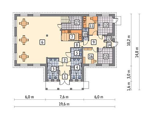 Rzut parteru POW. 179,4 m²