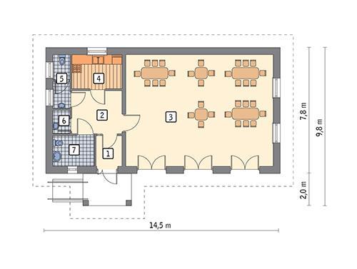 Rzut parteru POW. 90,8 m²