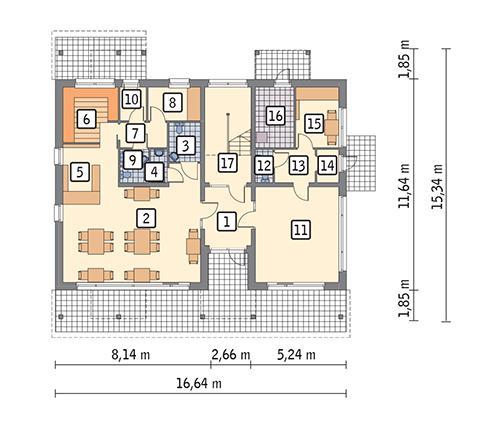 Rzut parteru POW. 156,7 m²