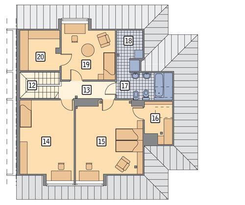 Rzut poddasza POW. 96,5 m²
