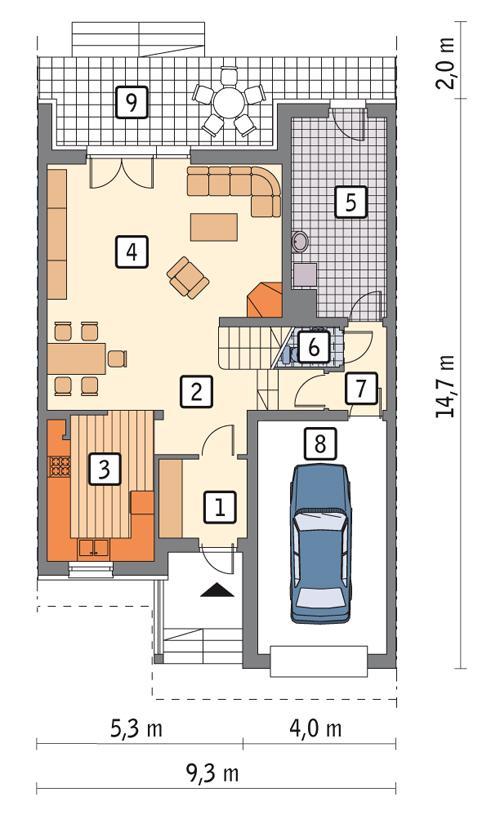 Rzut parteru POW. 90,6 m²