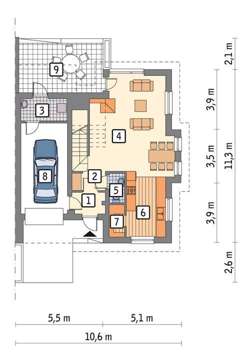 Rzut parteru POW. 71,6 m²