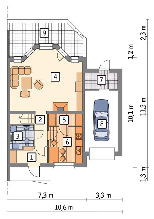 Rzut parteru POW. 81,9 m²