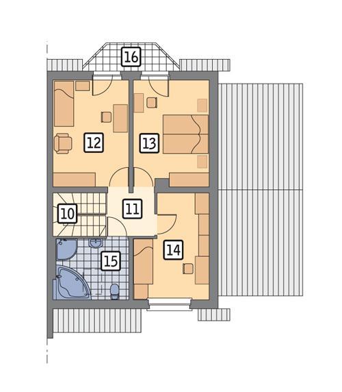 Rzut poddasza POW. 61,6 m²