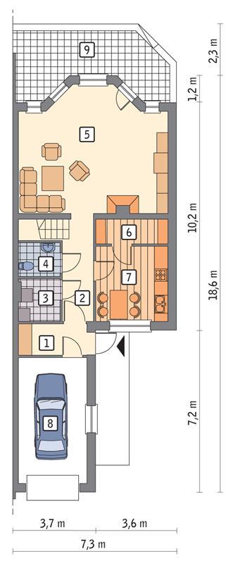 Rzut parteru POW. 83,5 m²