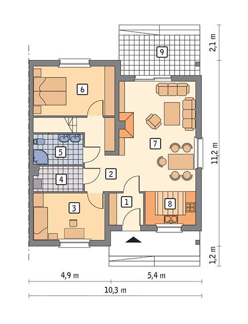 Rzut parteru POW. 83,0 m²