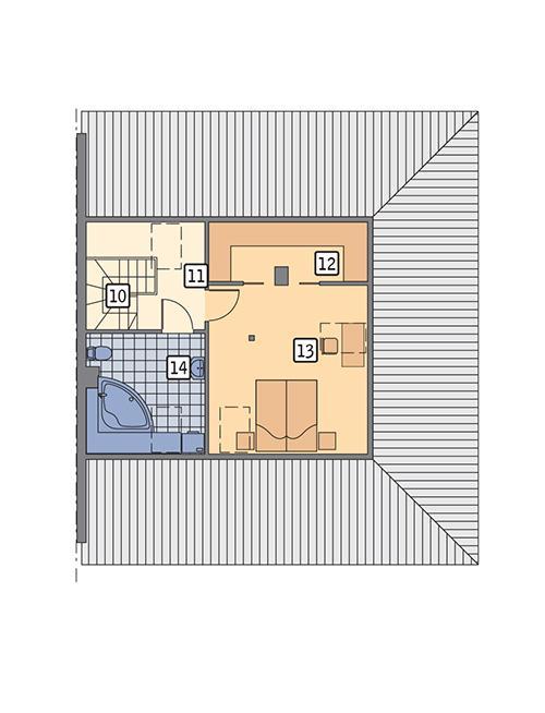 Rzut poddasza POW. 45,5 m²