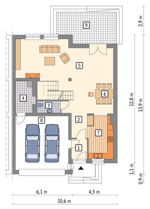 Rzut parteru POW. 111,6 m²