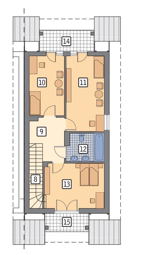 Rzut poddasza POW. 62,6 m²