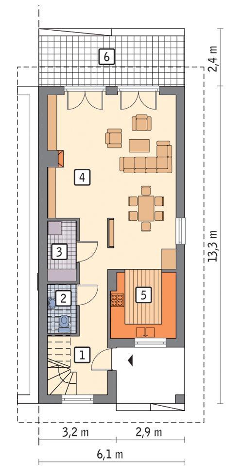 Rzut parteru POW. 55,9 m²