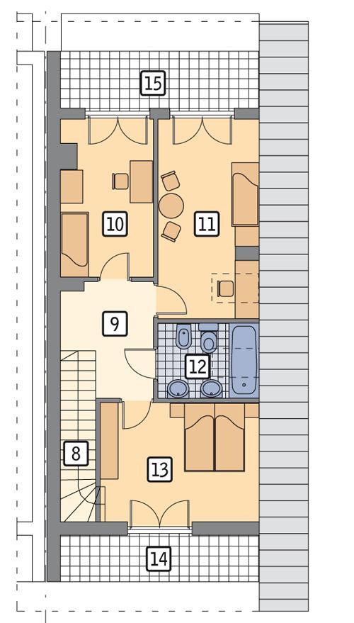 Rzut poddasza POW. 68,1 m²