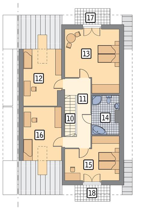 Rzut poddasza POW. 104,5 m²