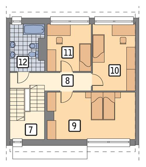 Rzut piętra lustro POW. 64,9 m²
