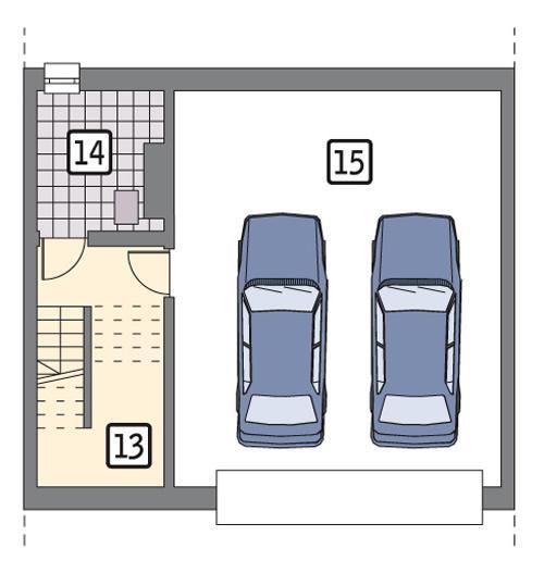 Rzut piwnicy lustro POW. 61,2 m²