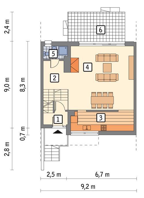 Rzut parteru lustro POW. 65,5 m²