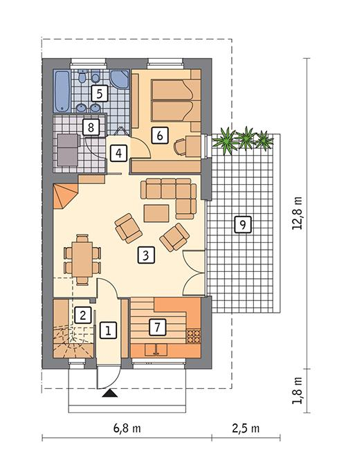 Rzut parteru POW. 68,8 m²