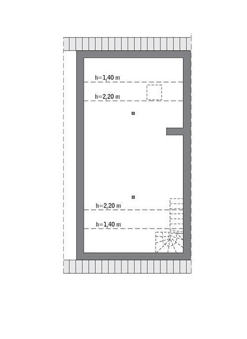 Rzut poddasza lustro: do indywidualnej adaptacji (45,1 m2 powierzchni użytkowej)