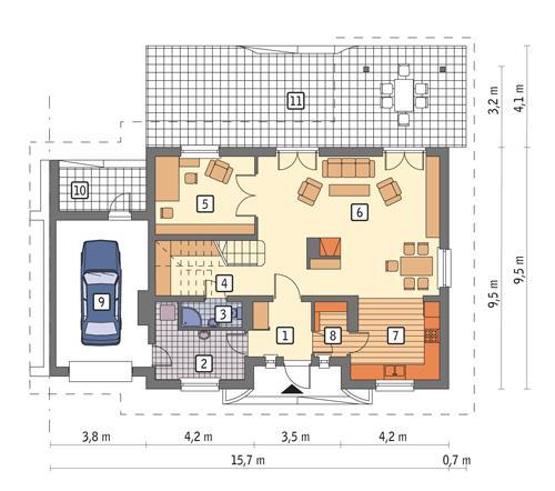 Rzut parteru POW. 106,5 m²