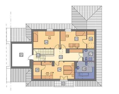 Rzut poddasza POW. 114,1 m²