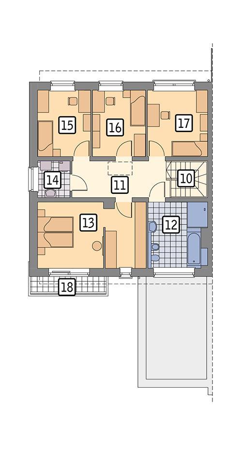 Rzut piętra POW. 84,2 m²