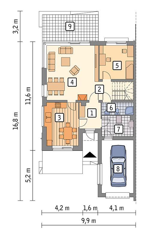 Rzut parteru POW. 102,3 m²