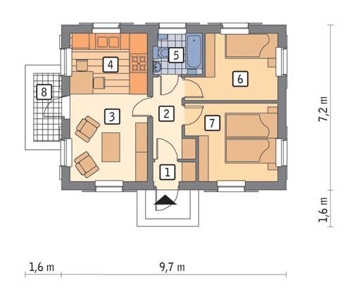 Rzut parteru POW. 52,2 m²