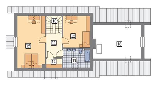 Rzut poddasza POW. 86,9 m²