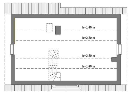 Rzut poddasza: do indywidualnej adaptacji (28,8 m2 powierzchni użytkowej)