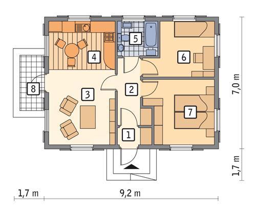 Rzut parteru POW. 54,1 m²