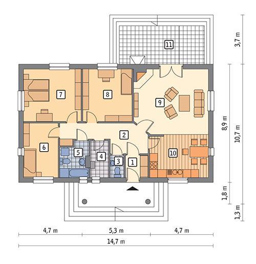 Rzut parteru POW. 105,3 m²