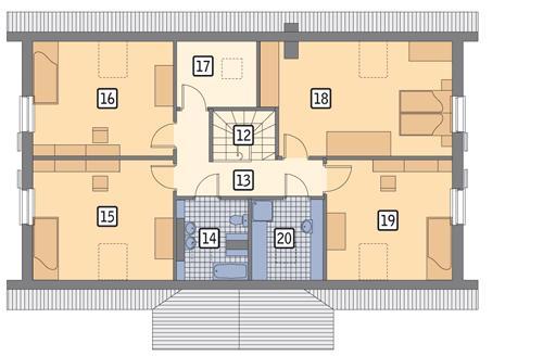 Rzut poddasza POW. 105,2 m²