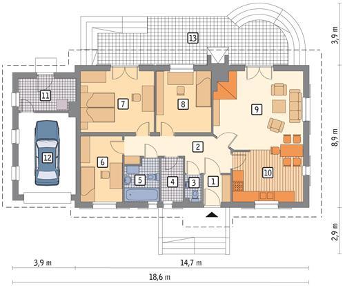 Rzut parteru POW. 128,5 m²