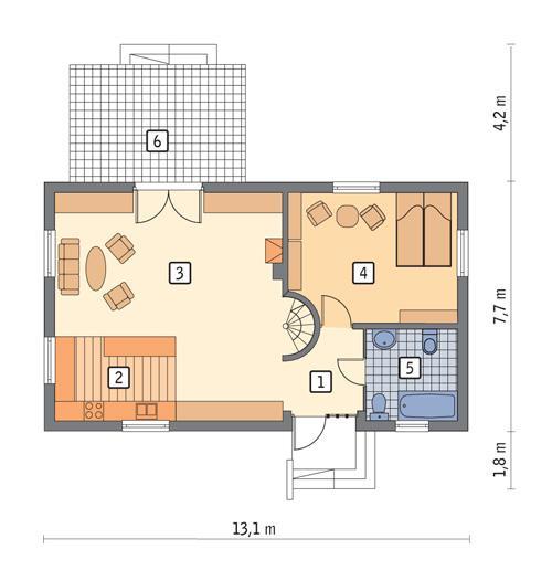 Rzut parteru POW. 83,9 m²