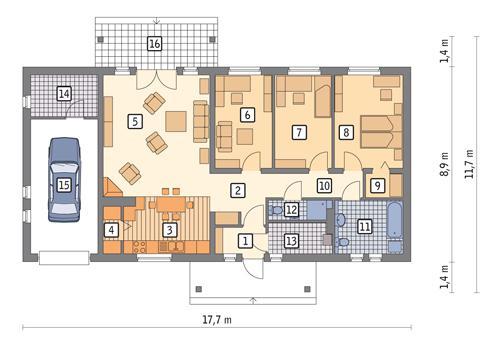 Rzut parteru POW. 127,4 m²