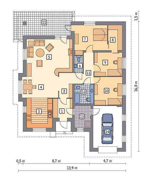 Rzut parteru POW. 150,9 m²