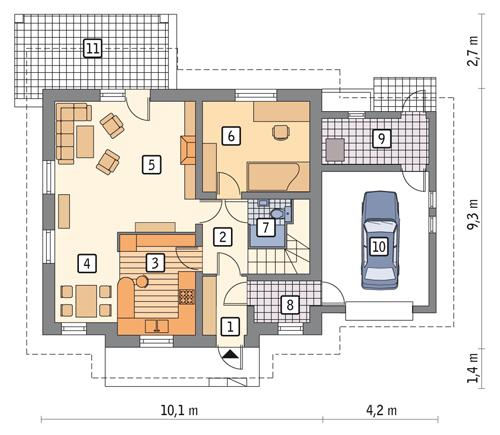 Rzut parteru POW. 88,8 m²
