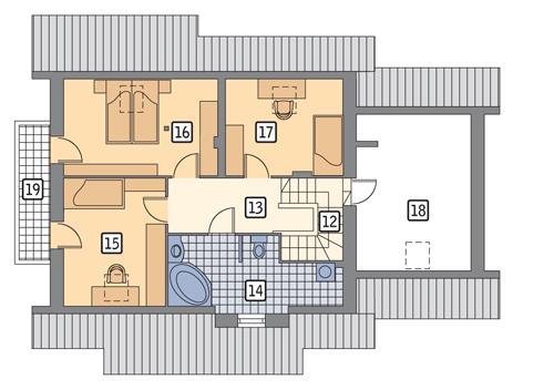 Rzut poddasza POW. 98,5 m²