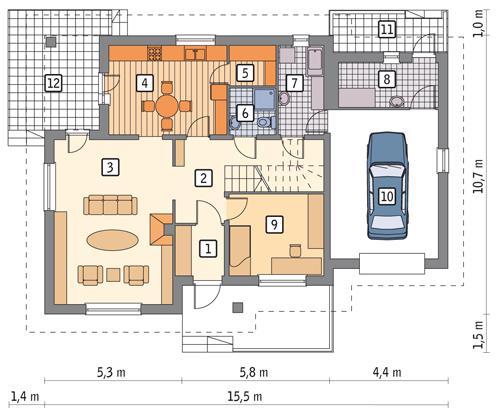 Rzut parteru POW. 111,9 m²